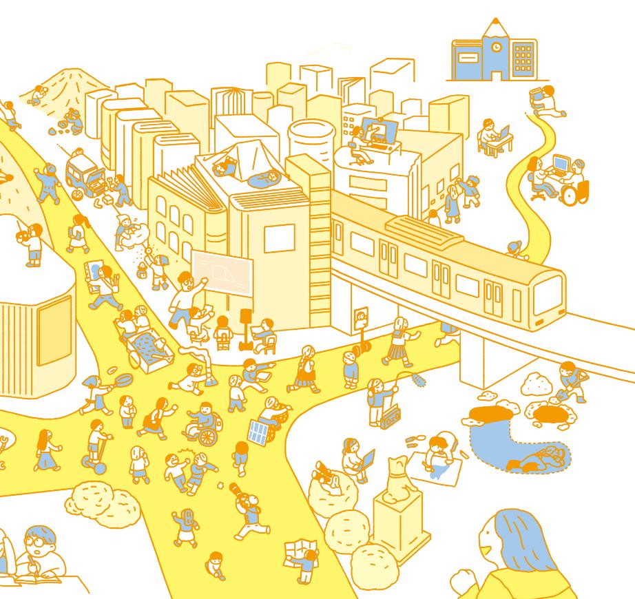 たくさんの子どもたちが交差点を歩いている